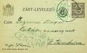 HUNGARY 1919 5 BANI UPRATED ON 20f ST. STEPHEN'S CROWN CENSORED POSTAL CARD