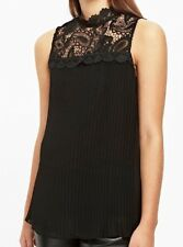WALLIS top Size 16 black pleat lace evening party £35 Brand New