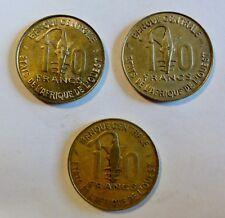 Französisch West-Afrika - 3 x 10 Francs - 1982 / 1986 / 1992 - ss bis vz