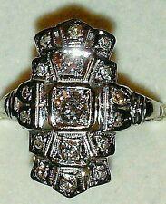 GENUINE ART DECO 14k WG, CLEAN G VS OLD MINE CUT DIAMOND 0.80 TCW COCKTAIL RING