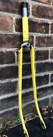 """VtG Schwinn Blade Fork For 27 X 1/4"""" Wheels W/ 7"""" Steer Tube 1"""" Threaded Yellow"""