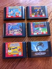 SEGA GENESIS Game Cartridges only - LOT OF 6 Genuine Authentic Sonic Aladdin
