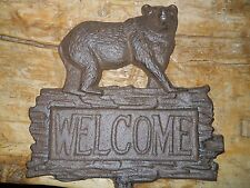 Cast Iron Bear Welcome Sign Garden Stake Home Decor Hunting Camp Plaque Rustic