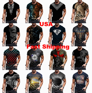 Men T-Shirt Cool Graphic Fashion Short Sleeve Tee Fitness Soft Casual Activewear