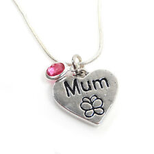 Silver Plated Heart Shaped Mum Birthstone Necklace – Free Delivery