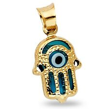 Solid 14k Yellow Gold Evil Eye Hamsa Hand Pendant Good Luck Charm Polished Fancy