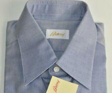 NEW Brioni Blue White Dress Shirt French Cuff Long Sleeve 15 3/4 40