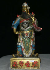 """18"""" Old China Bronze Painting Dragon Guan Gong Guan Yu God Warrior Sword Statue"""