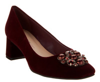 Isaac Mizrahi Live! Embellished Block Heel Pumps Dark Red Fabric Womens 7 New