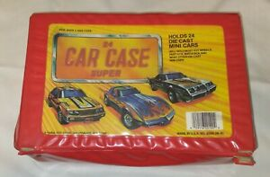 Tara Toy Corp. 24 Car Collector's Case, Hot Wheels / Matchbox. Red,  NO TRAYS