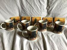 THOMAS KINKADE Set Of 10 Coffee Mugs & Coasters Town Square Christmas 2010 ~EUC~