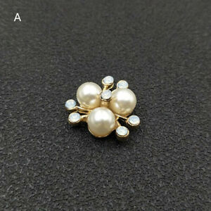 5pc Alloy Faux Pearls Rhinestones Flowers Flatback Buttons Embellishments 16 mm