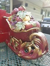 Fitz and Floyd Holiday Christmas Sleigh Lidded Tureen with Ladle 2003