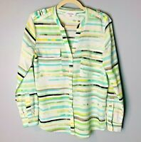 Calvin Klein Women's Blouse Size Small Top Roll-Tab Sleeves White Blue Green