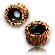 "PAIR OF 1"" INCH 25MM COCONUT WOOD TUNNELS INLAY EBONY PLUGS PLUG"