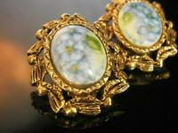 Beautiful Vintage 1950's Porcelain Flower Cameo Earrings                   1009s
