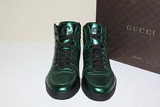 New 8.5 US / 7.5 UK GUCCI Green Mirrored Perforate leather Hi Top sneakers Shoes