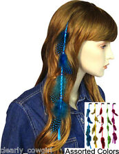 #6063 -- WESTERN COWGIRL DOT FEATHER HAIR COMB EXTENSIONS -WOW!