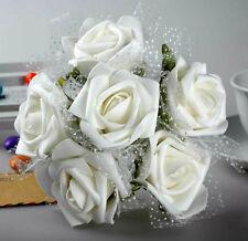 Wedding Rose Flower 4pcs White Foam Roses Bridal Bouquet Table Centerpiece