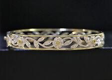 RETAIL $6,600 Simon G 18K Yellow White Diamond Flower Garden Bangle Bracelet