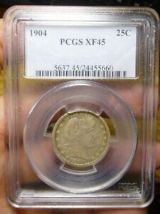 1904 Barber Silver Quarter PCGS XF45