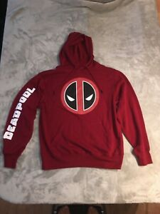 Marvel Red Deadpool Hoodie Jacket Sweatshirt Mens Size Medium Comics Movie