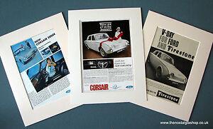 Ford Corsair.  Set of 3 Vintage Original Adverts, 1965,1967, in Mounts.