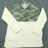 BEESON RIVER Pullover Fleece USA MADE 1/4 Zip Camo White Soft Women's XL