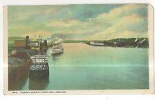 Ships in PORTLAND OR Harbor Vintage 1923 Oregon Postcard