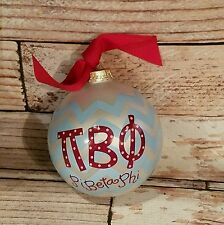 Christmas Coton Colors GREEK Pi Beta Phi Glass Ornament Blue Maroon Chevron