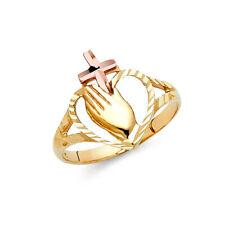 Women 14k Yellow Rose Real Gold Religious Cross Praying Hands Heart Ring Band