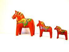 NILS OLSONN Swedish DALA HORSES Vintage set of 3 Miniature  Red Swedish