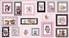 "Loralie FANCY CAT Panel Quilt Fabric 23"" x 44""  #691-948B ~ 16 Designs!"