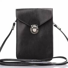 """Black Leather Carry Pouch Wallet Cross-Body Case Bag for 5.5"""" iPhone 6s/7 Plus"""