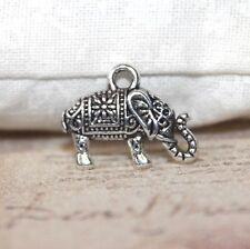 Cute small silver tone elephant charms x5