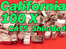 100 X Pcs CAT5 Shielded 8P8C RJ45 Socket Plug Network Modular Connectors Cable 5