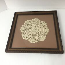 "Vintage 12"" x 12"" Professionally Framed Crocheted Crochet Lace Doily Doilie"