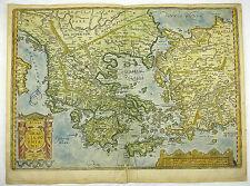 GRIECHENLAND MAZEDONIEN TÜRKEI ÄGÄIS KOL KUPFERSTICH KARTE ORTELIUS 1595 #D818S