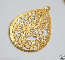 10  Gold plated Filigree Teardrop pendant 52x39mm