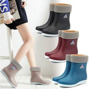 Ladies Rainy Season Chelsea Ankle Boots Wellington Boots Fur Lining Shoes