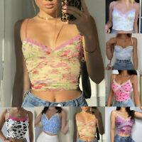 Sexy Women Floral Print Lace Trim Crop Top V Neck Spaghetti Strap Tank Top Cami