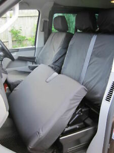VW Transporter T5 2003-09 Noir sur Mesure & Imperméable Avant Siège Housses