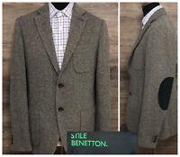 Benetton STILE Men's Wool Blend Gray Herringbone Blazer Sport Coat Jacket 40R