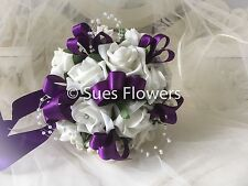 Wedding Flowers Bridesmaid Bouquet in Cadbury Purple