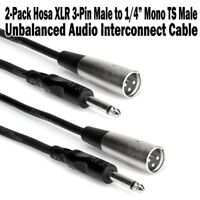 "2-Pack Hosa 5 ft XLR Male to 1/4"" Mono Male Adapter Audio Cable Unbalanced 3-Pin"