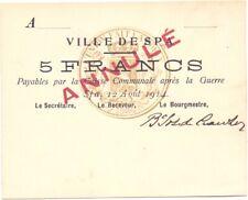 SPA   5 Francs 1914