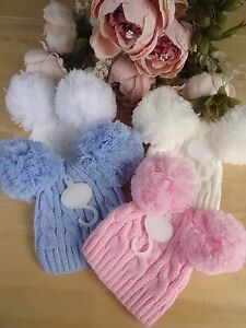 Baby Boy Girl Two Pom Poms White Blue Cream Pink Grey Cable Knit Winter Hat 0-3m