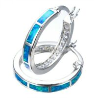 Women 925 Silver Blue Fire Opal Circle CZ Hoop Earrings Wedding Jewelry