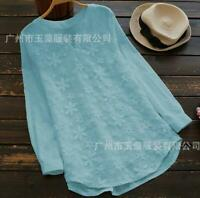 Women's Blouse Lace Floral Loose Long Sleeve Casual T Shirt Tops Cotton Linen