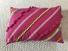 Pink with Pom Poms Accent Colorful Embroidered Throw Pillow 13x9 - Rectangle